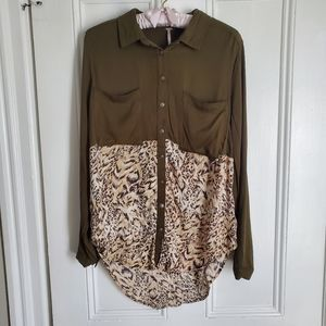 Free People Green and Animal Print Button Down Blouse